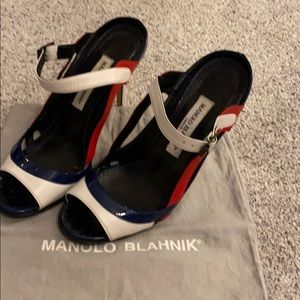 Size 38.5 red white and blue Manolo Blahnik heels